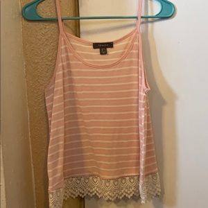 2/$15 Pink and white striped tank top